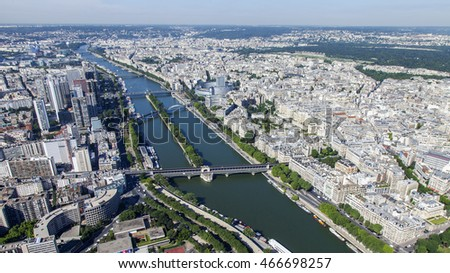 PARIS, FRANCE, on JULY 7, 2016. A view of the city from above from the survey platform of the Eiffel Tower. River Seine its embankments and bridges. Bir-Most Hakeym Bridge (fr. Bir-Hakeim)