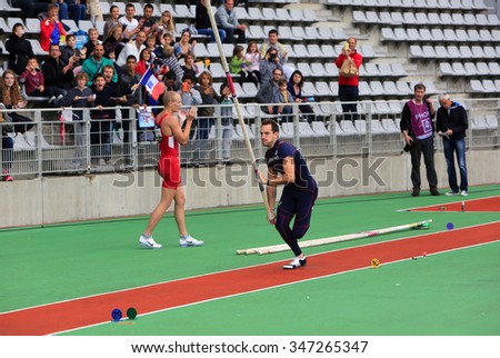 PARIS, FRANCE - SEP.13: Lavillenie Renaud on DecaNation International Outdoor Games on September 13, 2015 in Paris, France. He is Olympic champion and World record holder jump pole vault with 6m16