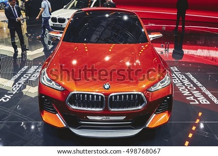Paris, France - September 29, 2016: 2016 BMW X2 Concept presented on the Paris Motor Show in the Porte de Versailles