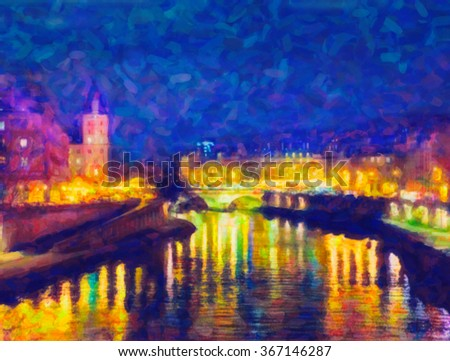 Paris night view. Drawing stylization