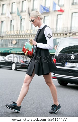 PARIS-OCTOBER 5, 2015.Famous Belgium blogger Sofie Valkiers looks during Paris fashion week.Ready to wear.
