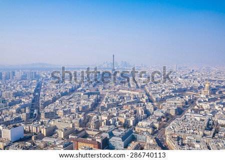 Paris, panoramic view from Montparnasse