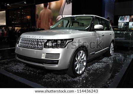 PARIS - SEPTEMBER 30: The new Range Rover - Land Rover displayed at the 2012 Paris Motor Show on September 30, 2012 in Paris