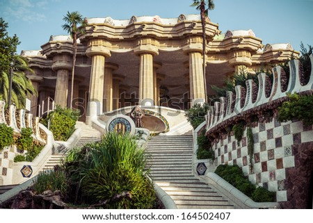 Park Guell designed by Antoni Gaudi in Barcelona, Spain. Vintage retro style