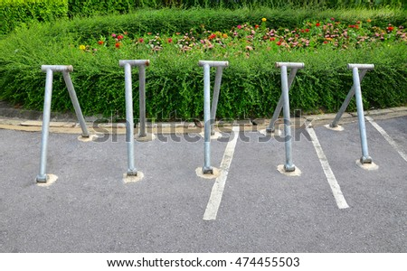 parking space for bicycles in the park.