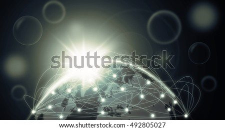 Part of earth with network line and point on the star and dark background, Internet Network concept