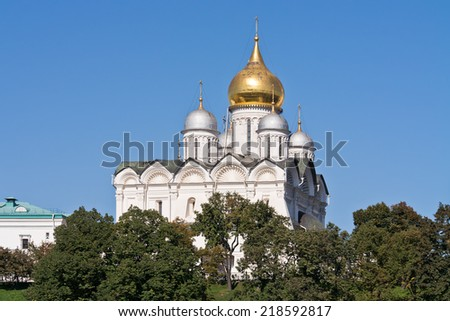 Part of the complex of the Orthodox churches in the territory of the Moscow Kremlin. Cathedral of the Archangel
