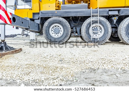 Part of the undercarriage wheels on mobile crane, tracked