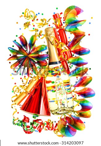 Party decoration with garlands, streamer, cracker, confetti and wine bottle. Holidays background