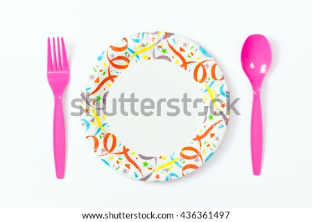 Party paper plate with plastic spoon and fork  sc 1 st  Shutterstock & Party Paper Plate Plastic Spoon Fork Stock Photo 436361485 ...