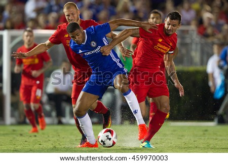 PASADENA, CA - JULY 27: Ruben Loftus-Cheek, Dejan Lovren, & Ragnar Klavan during the 2016 ICC game between Chelsea & Liverpool on July 27th 2016 at the Rose Bowl in Pasadena, Ca.
