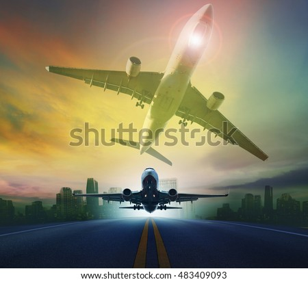 passenger plane flying against skyscraper background for transport and traveling background