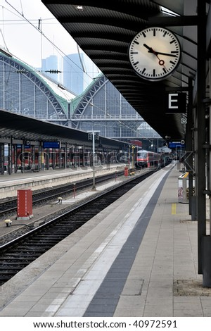 passenger platform at the railway station in Frankfurt am Main, Germany