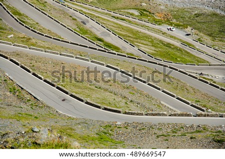 Passo Dello Stelvio. Famous road in Alpen on Italy - Swiss border with bikers who travels here during summer holiday