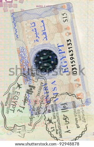 Passport page with Egypt visa and border stamps