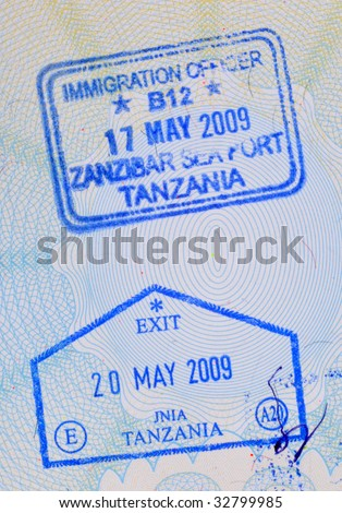 Passport stamps from Tanzania.