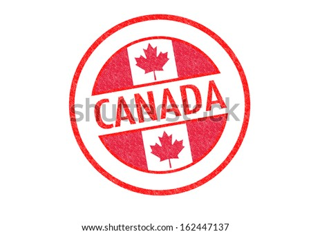 Passport-style CANADA rubber stamp over a white background.