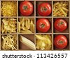 Pasta mix with fresh tomatoes in a wooden box - stock photo