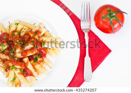 Pasta with Tomato Sauce Ketchup and Saffron Studio Photo