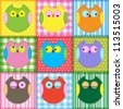 Patchwork background with colorful owls.Raster version - stock photo