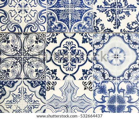 patchwork pattern from dark blue and white Moroccan tiles
