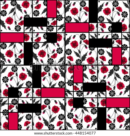 Patchwork seamless pattern floral poppy ornament design background