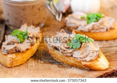 pate in a jar and sandwiches