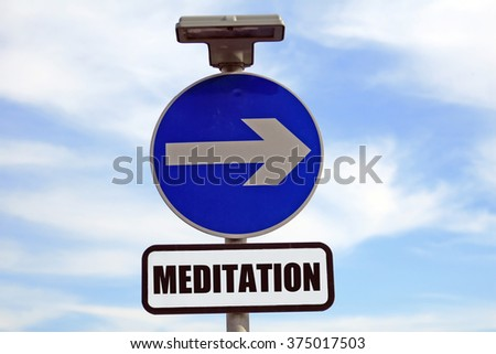 Path to meditation class, meditate sign post to happiness