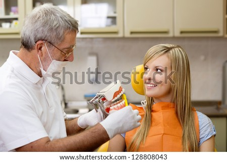 Patient is having dental treatment at dentist