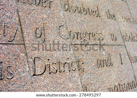 Patriotic words engraved in the stone in Washington DC