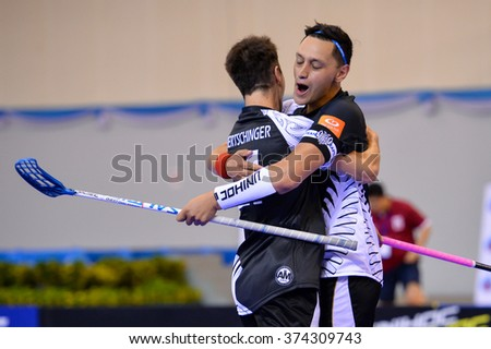PATTAYA,THAI FEB5:Taiapa Lewis of New Zealand congratulated by team mates during the Men's World Floorball Championships Qualifications 2016 between Korea vs New Zealand on February5,2016 in Thailand