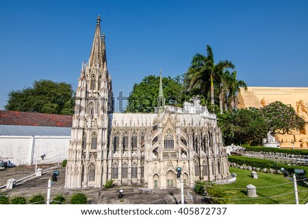 PATTAYA, THAILAND - April 10 2016 : Cologne Cathedral Replica at Mini Siam in pattaya