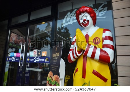 PATTAYA, THAILAND - 20 NOV, 2016: Ronald McDonald character near entryway to McDonals restaurant. Ronald McDonald is a clown character used as the primary mascot of the McDonald's restaurants.
