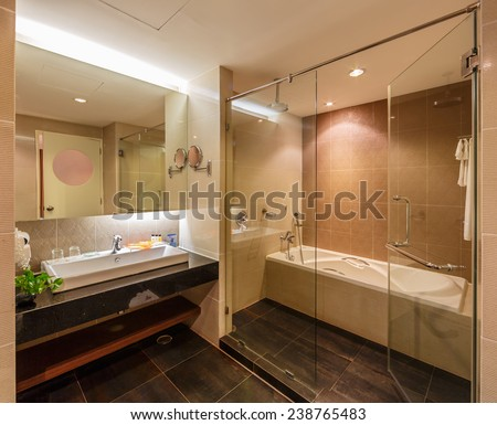Bathroom Interior Screened Bath Tub Wooden Stock Photo 222732973 Shutterstock