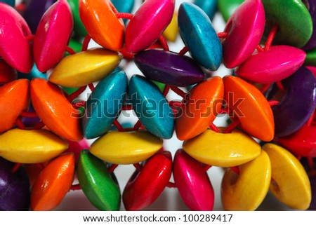 pattern of colored wooden beads