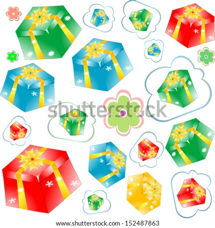 pattern with gift boxes and flowers, raster