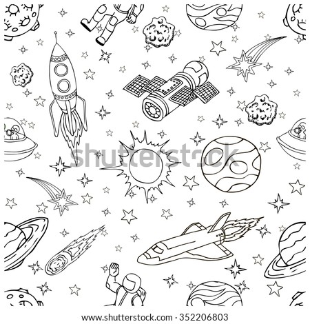 Pattern with outer space doodles, symbols and design elements: spaceships, UFO, planets, stars, rocket, astronauts, sun. Isolated objects on white background. Hand drawn illustration