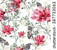 Pattern with watercolor realistic  chinese rose, peony and butterflies.  Illustration - stock photo