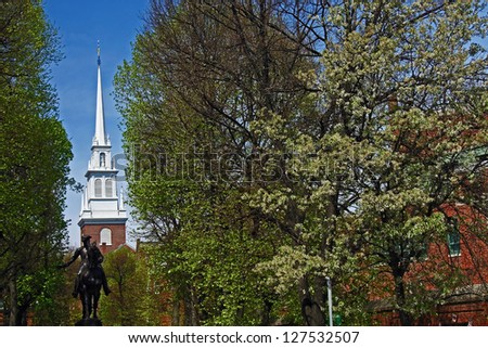 Paul Revere statue and Old North Church in Boston