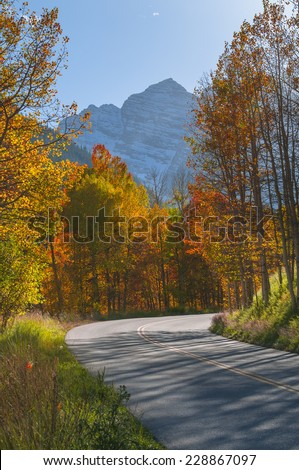 Paved road leading to the high mountains surrounded by colorful fall trees