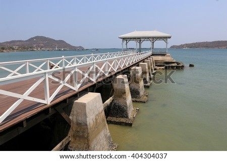 pavilion, wood bridge , Sichang Island, Thailand