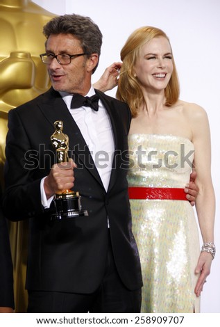 Pawel Pawlikowski and Nicole Kidman pose in the press room during the 87th Annual Academy Awards at Loews Hollywood Hotel on February 22, 2015 in Hollywood, California.