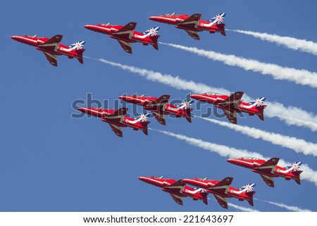 PAYERNE, SWITZERLAND - SEPTEMBER 6: Red Arrows aerobatic team on AIR14 airshow in Payerne, Switzerland on September 6, 2014
