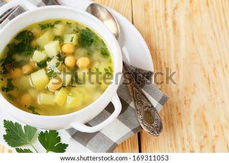 pea soup with chickpeas, food closeup