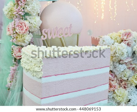 peace of cake on a pink background
