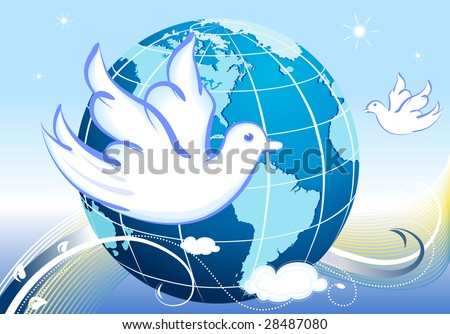 Peace to the World with white doves and our home planet. Vector file also available