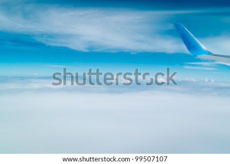 Peacefull view with blue sky and a detail of the plane's wing.