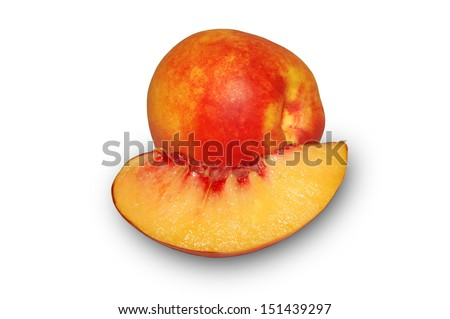 Peach.Nectarine and slice on a white background.