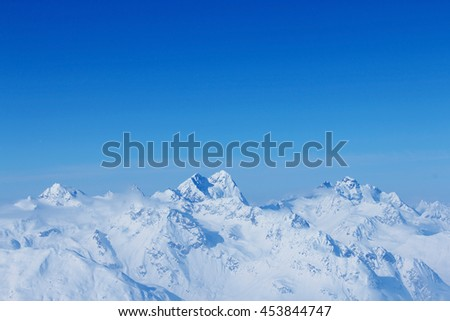 Peaks of the mountain range in winter, Alps, Austria