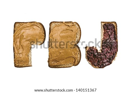 Peanut Butter and Jelly on Letter Bread
